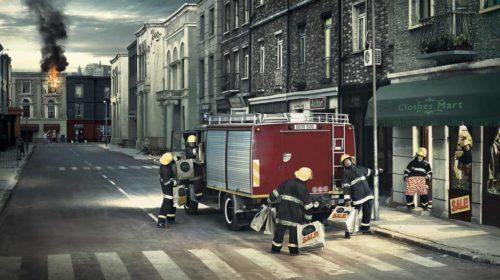 Fireman shopping